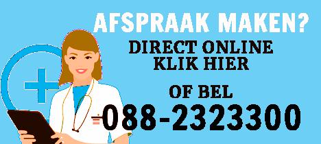 Afspraak maken direct online, klik hier! Of bel 088-2323300